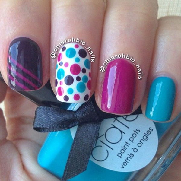 Blue and Pink Polka Dot Nails.