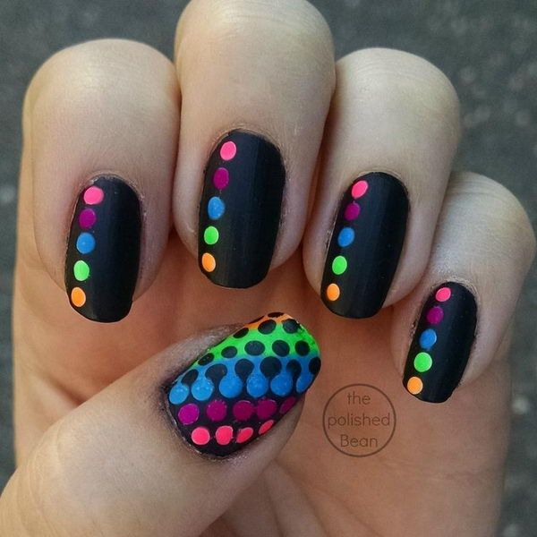 Cute Neon Polka Dot Nail Art.