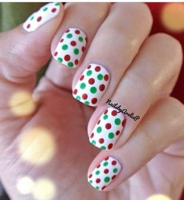 Red, Green and Polka Dots on White Nail Base.
