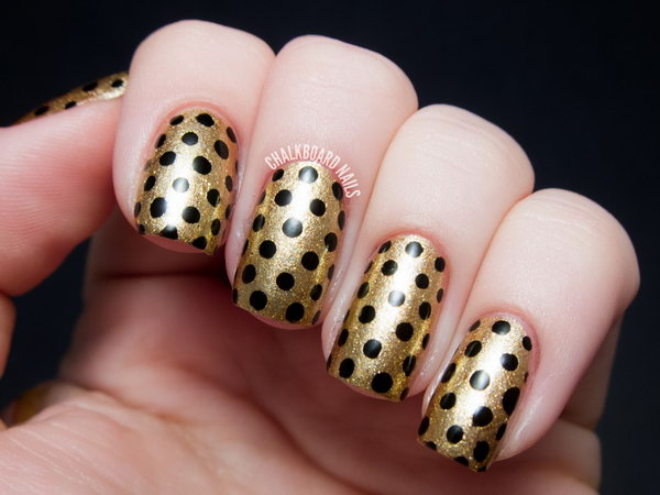 Black and Gold Polka Dot Nail Art Ideas.