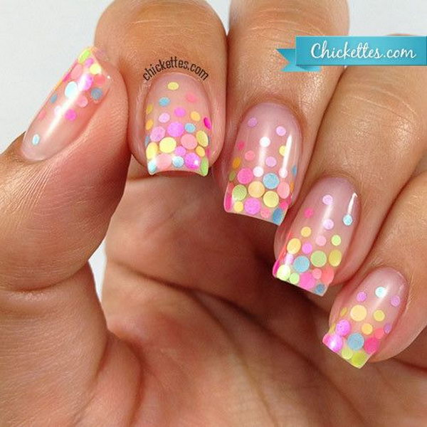 Pastel Polka Dot Nail Design. These pastel polka dots are so sweet. A nail perfect for summer and spring.