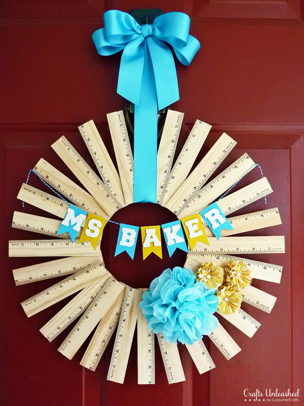 Personalized Ruler Wreath. Ruler wreath is super easy to make and makes a perfect back to school gifts for any teacher. Lear how to make it