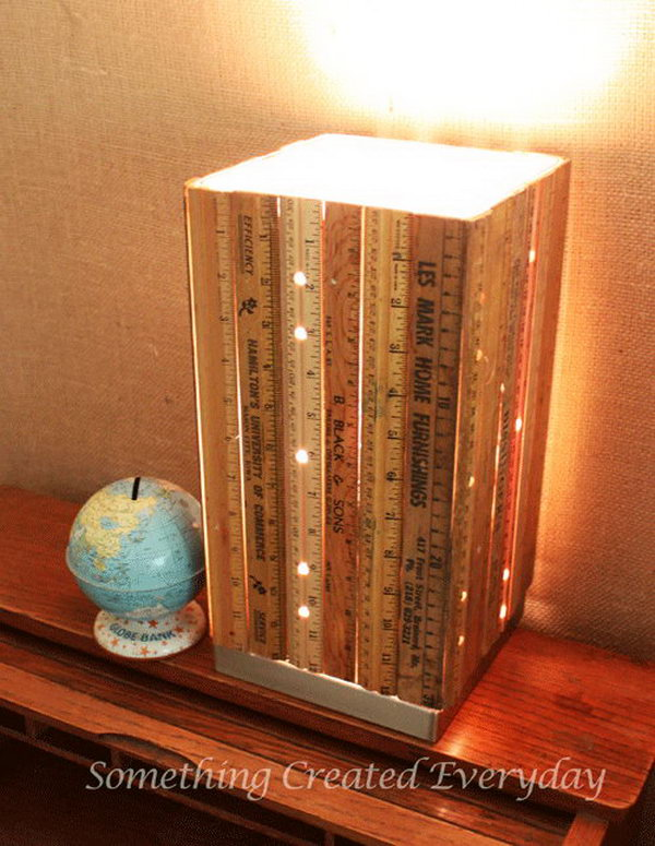 DIY Ruler Lamp. If you like a shabby chic decorating style for your home, you can give this vintage ruler lamp a try. Get the step by step tutorial