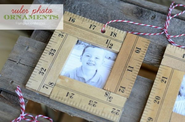 DIY Ruler Photo Ornaments. Make this beautiful ruler photo ornament for yourself or used as a given gift. Get the easy tutorial on how to make a it