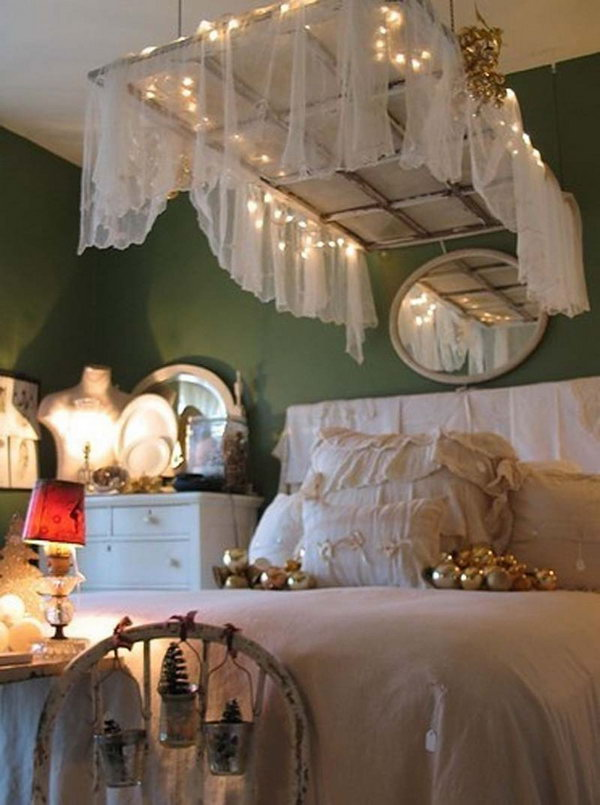 Getting Shabby Chic by Hanging the Warm Wooden Door over the Bed Draped with Lace.