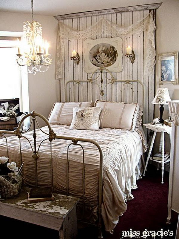 30 shabby chic bedroom ideas decor and furniture for for Farmhouse style bed