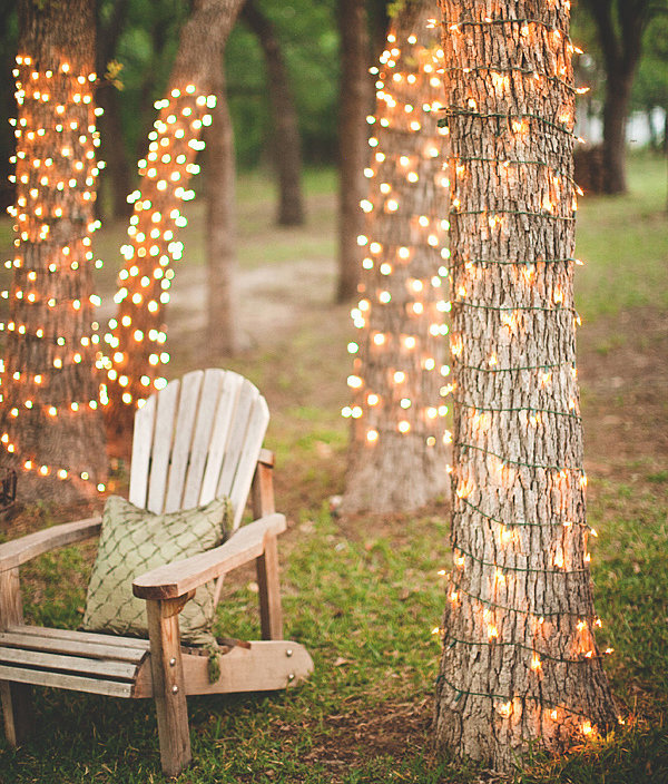 Tree Trunks Decoration with String Lights to Light Up Your Yard.