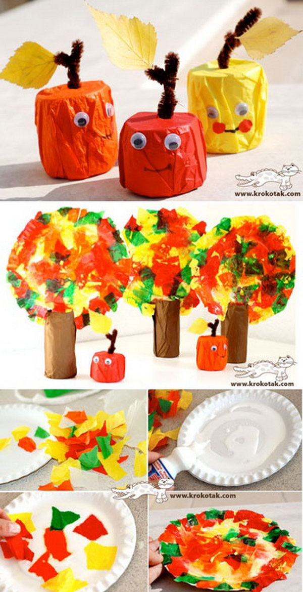 Tissue Paper Apples and Fall Trees. A super fun and beautiful craft to make for kids this season. Get the directions