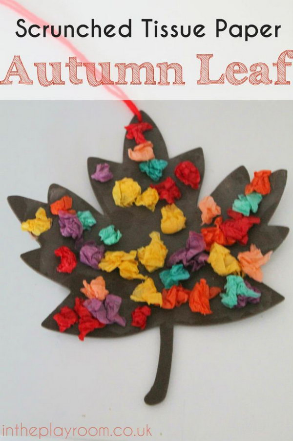 Scrunched Tissue Paper Autumn Leaf – Fall Craft. Fall is the beautiful time of the year and is also my favorite time of year for DIY decor. This autumn leaf craft made with tissue paper is a perfect craft idea to get your kids involved with fun. Check out the tutorial