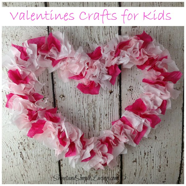 Valentines Crafts for Kids: Tissue Paper Heart. This tissue paper heart wreath makes a great decor item or used as a gift on Valentines' Day. See the tutorial