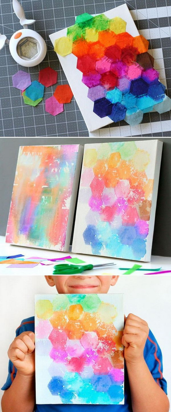 Kids Craft: Tissue Painted Canvas. This fun and beautiful art project for kids is made using bleeding art tissue instead of regular wrapping tissue and water. You can get this specialty tissue in the craft store. Get started to craft this art work with the tutorial