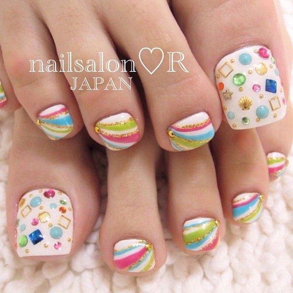 Rainbow Toe Nail Designs.