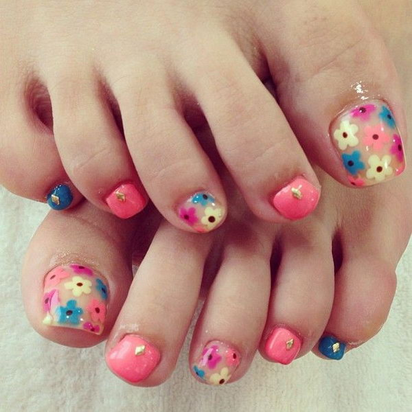 Muti colored Floral Toe Nails.