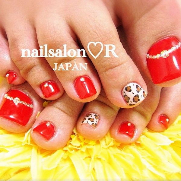 Red Base with Leopard and Rhinestone Accented Toe Nails.