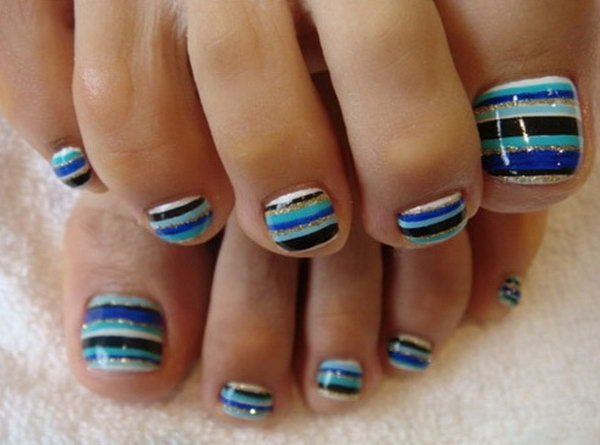 Multi colored Stripes Toe Nail Art.