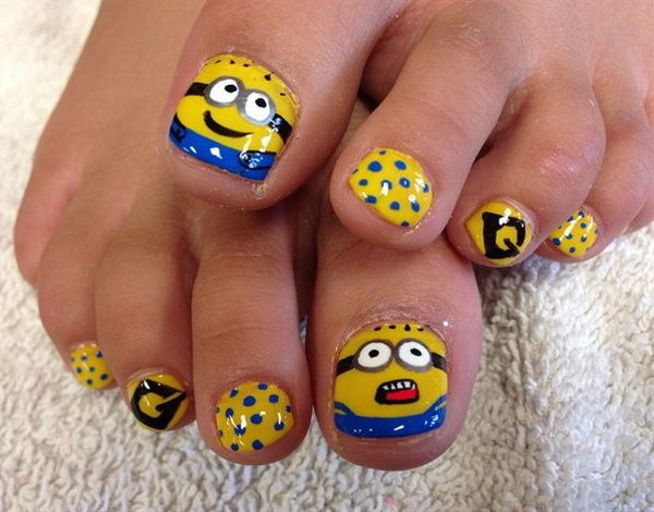 Minion Themed Toe Nail Design.