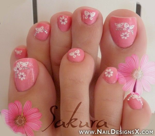 Flower and Butterfly Pink Toe Nails.