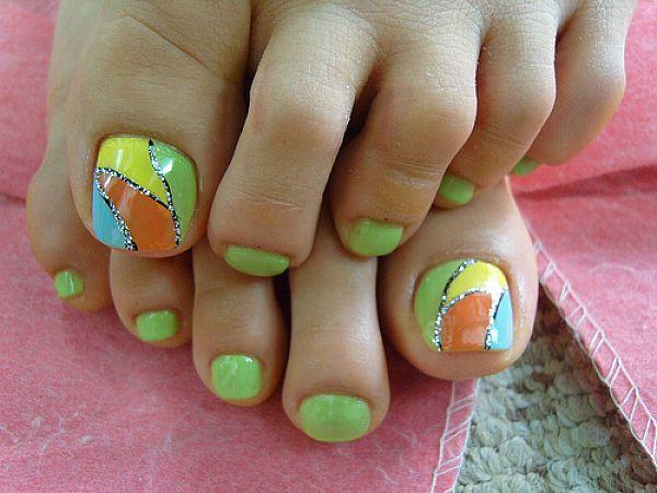 Neon Toe Nail Designs.