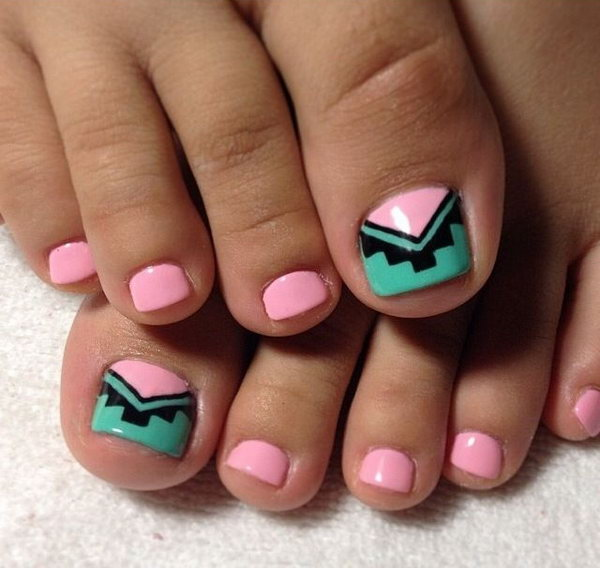 Teal and Peach Tribal Toe Nails.