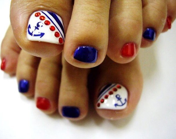Nautical Anchor Inspired Toenail Designs.