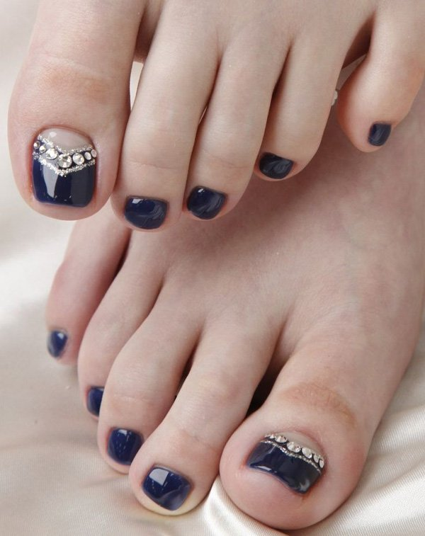 Midnight Blue Themed Accented with Gems Toenail Art Design.