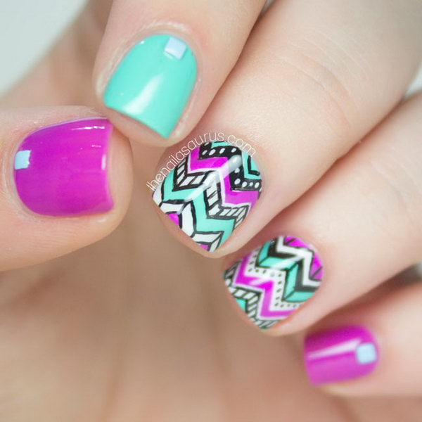 Chevron Tribal Nail Art. Get more directions