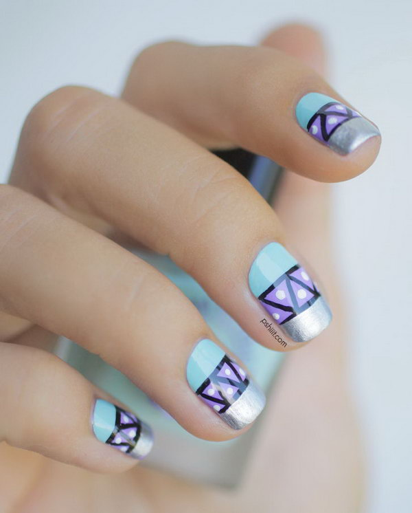 Pastel Tribal Nails with Silver Tips. Get the tutorial