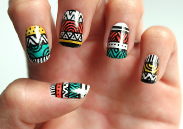 Tribal Stripe Nail Art. Get the tutorial