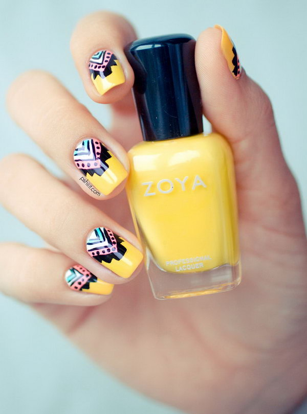 Tribal Nail Designs in Yolk Yellow Color. See the tutorial
