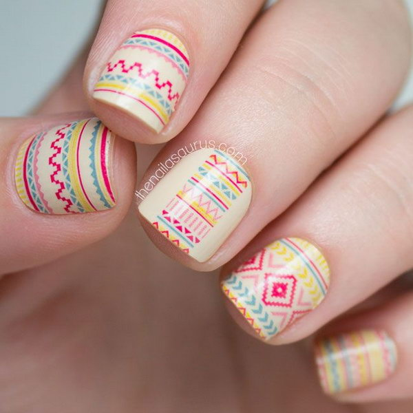 Nude Base Tribal Nail Design.