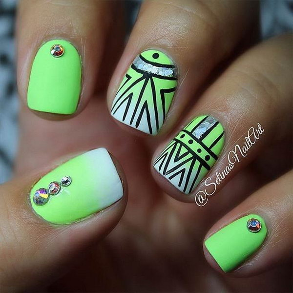 Lime Green Tribal Nail Design Accented with Rhinestones.