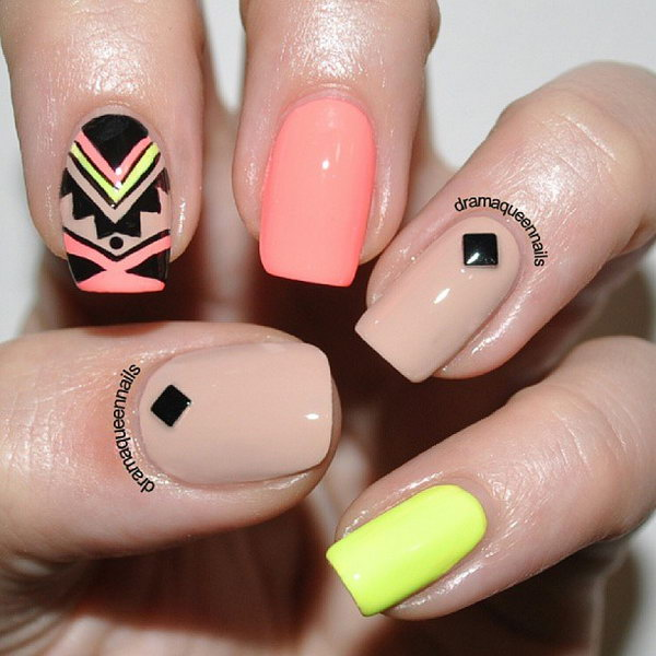 Nude and Neon Tribal Nails.