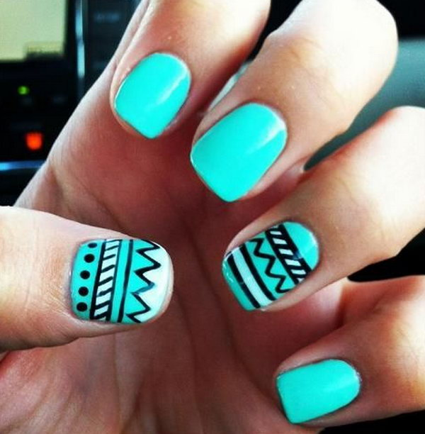 Tribal Nail Designs in Teal Color.