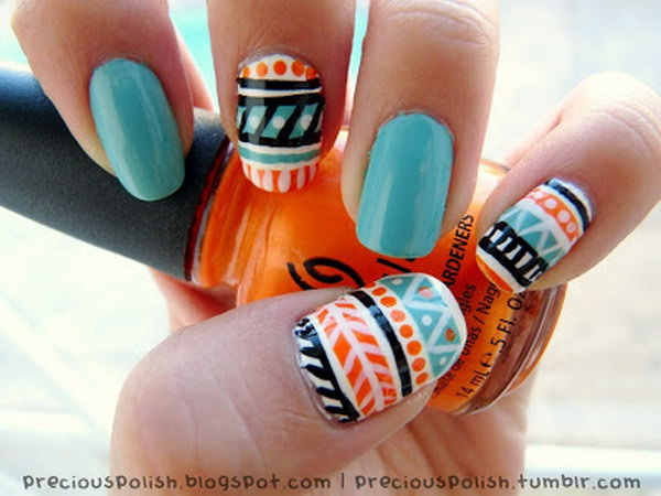 Sky Blue and Orange Tribal Nail Art. See more details