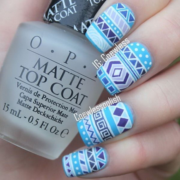 Blue Tribal Nail Design.