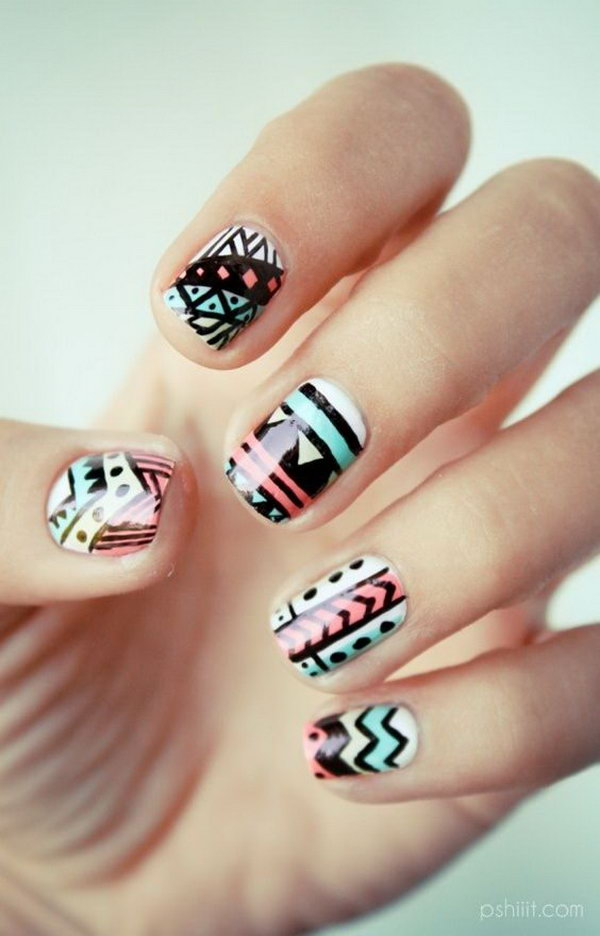 Black, Orange and Mint Mixed Tribal Nails.