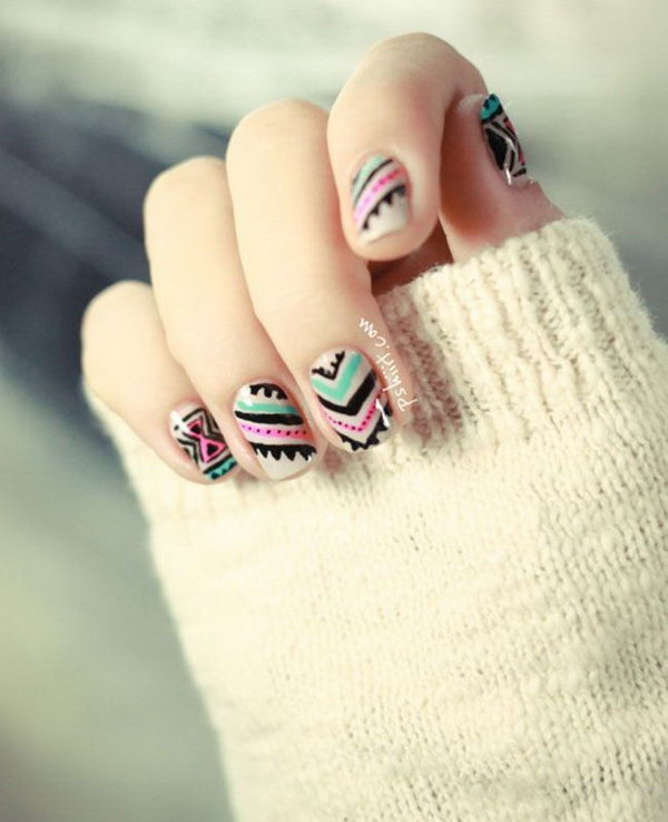 Black, Pink and Mint Tribal Nails.