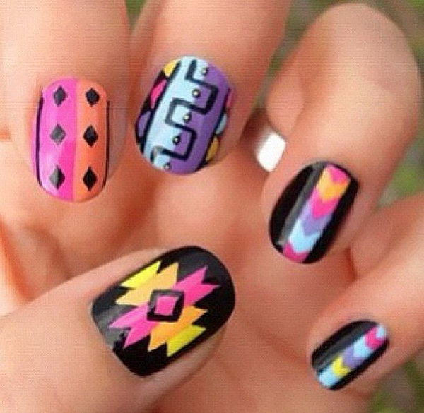 Rainbow Tribal Metallic Nails.