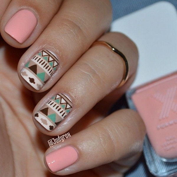 Light Pink and Nude Tribal Nail Design.