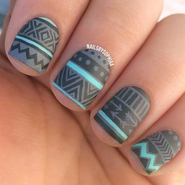 Matte Grey and Mint Tribal Nail Designs.