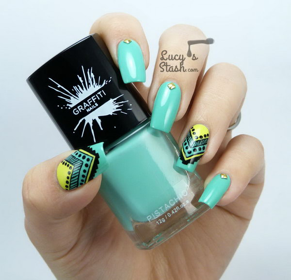 Mint Aztec Tribal Nail Art.