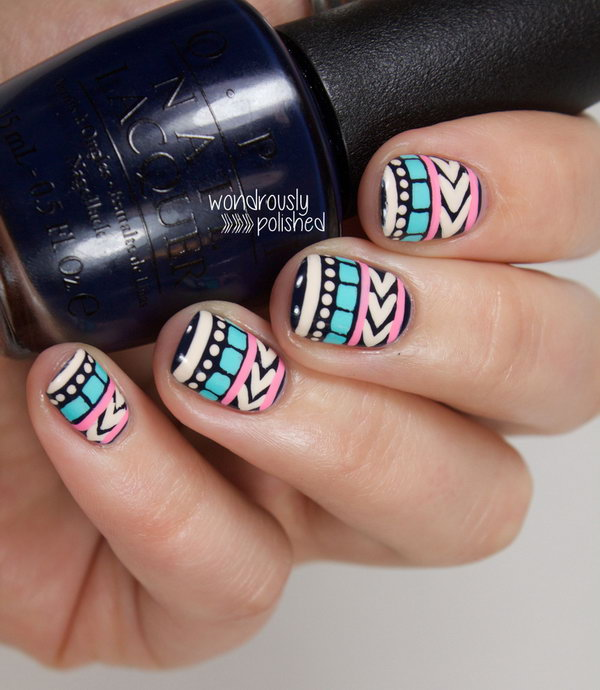 Pastel Tribal Print Nails.