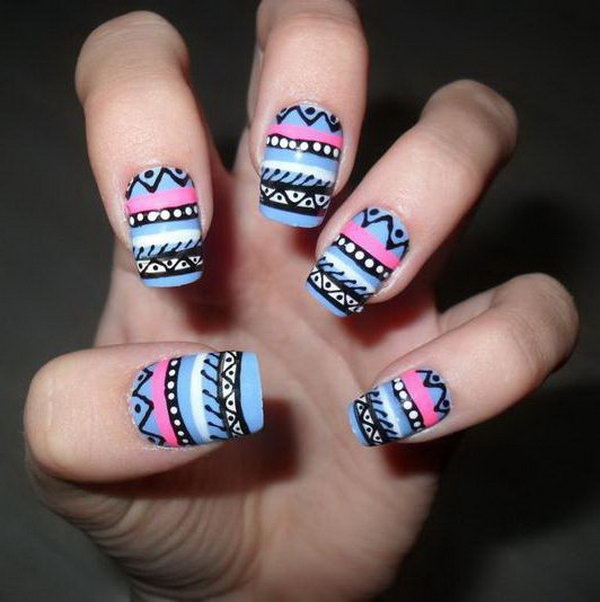Colorful Tribal Nails.
