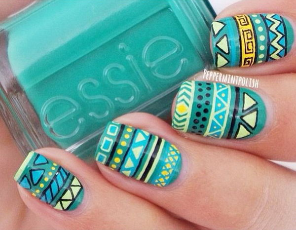 Blue and Yellow Tribal Nails.