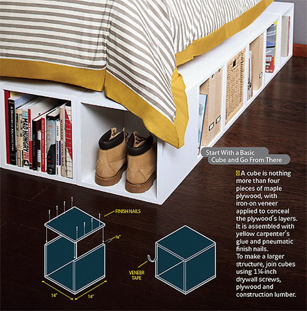 Simple wooden cubes used to make storage spaces, platform beds, and bookshelves under the bed.