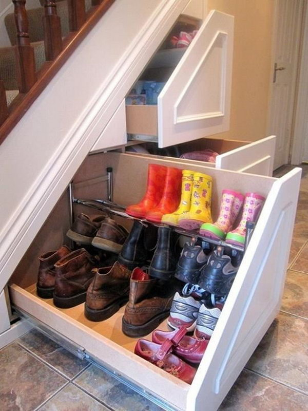 Under Stair Pull out Drawers. These pull out drawers are so great. You could easily put seasonal items here like winter sweaters and shoes. I never have a good place for that and I want to have one in my home.