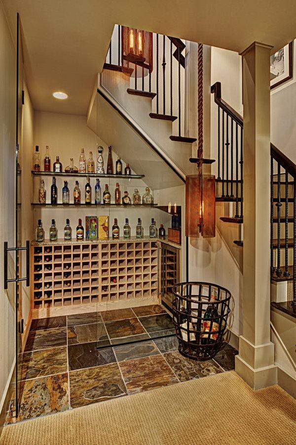Under Stairs Wine Cellar.