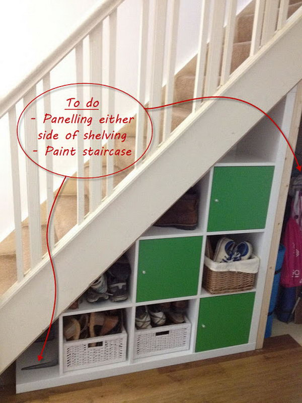 Expedit Under stairs Storage Ideas. The under stairs area had the potential to be a great storage area with some IKEA Expedit shelves in the hallway. Check out the tutorial