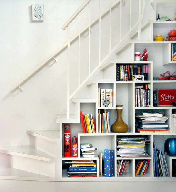 Open Shelf Under Stair Storage.