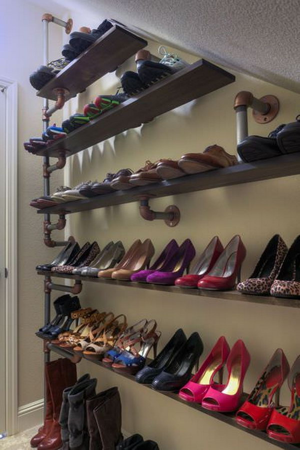 Industrial Pipe Shelving for Under stairs Shoe Storage.